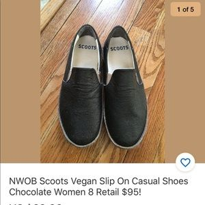 Scoots vegan brown slip on casual shoes size 8